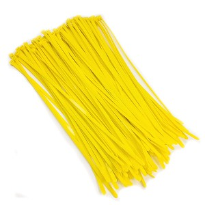 "8.5"" Fluorescent Yellow Color 40# Nylon Cable Zip Ties 100pc Bag"