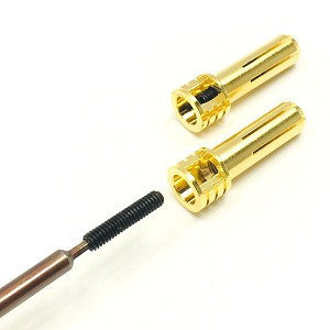Certified Adjustable 5mm Pure Copper Gold Plated Bullet Connectors (2) Males