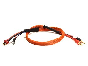 2 Cell Lightning Charge Lead T-Plug (Deans Style) with 4mm Charger Plugs (Orange)