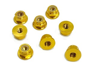3MM Aluminum Flanged Locknuts 24K Gold (8)