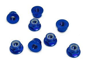 3MM Aluminum Flanged Locknuts Blue (8)